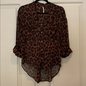 Free People East Rider Leopard Print Blouse